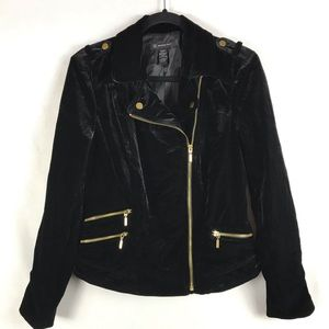 INC International Concepts Velvet Moto Jacket Med